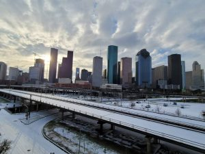 How did the great freeze of 2021 impact the Houston landscaping industry both positively and negatively?